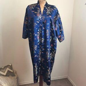 Plants 100% Silk Robe Asian Dragon Blue Kimono L